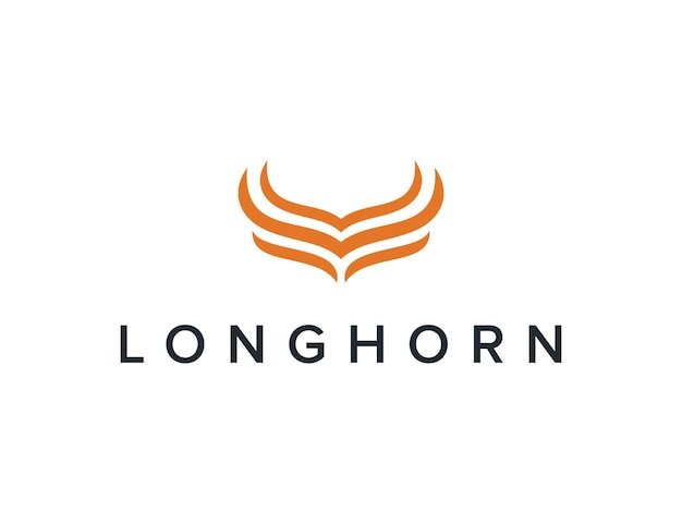 Longhorn minimalista, simples, elegante, criativo, geométrico, moderno, logotipo