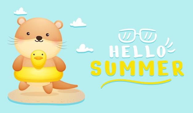 Lontra bebê fofo com banner de saudação de verão