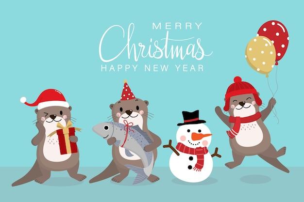 Lontra bonita em traje vermelho para presentes e férias de natal.