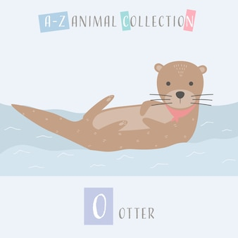 Lontra bonito dos desenhos animados doodle alfabeto animal o