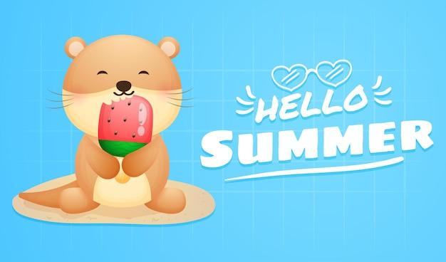 Lontra fofa segurando um sorvete grande com uma faixa de saudação de verão
