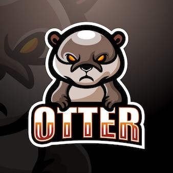 Lontra mascote esport logotipo ilustração