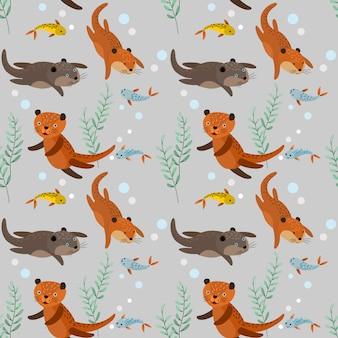 Lontras marrons engraçadas com padrão sem emenda de peixe.