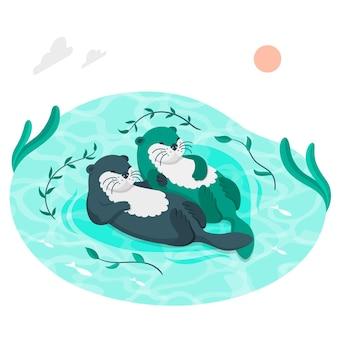 Lontras nadando ilustração do conceito