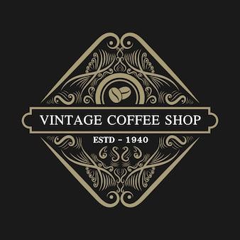 Look retro vintage de luxo e estilo ocidental antigo mão desenhado logo para hotel restaurante e café café