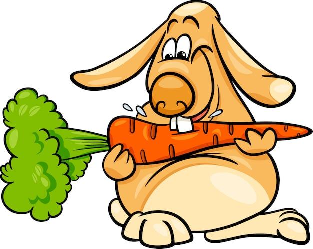 Lop coelho com desenhos animados de cenoura
