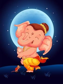 Lord ganesha dançando na noite de lua cheia com seu mouse. feliz ganesha chaturthi