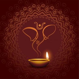 Lord ganesha e design de cartão festival diya