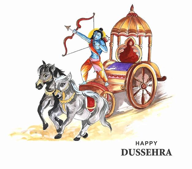 Lord rama com flecha matando ravana no fundo do cartão do festival navratri