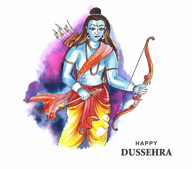Lord rama happy dussehra festival deseja cartão fundo aquarela