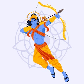 Lord rama pulando e usando o arco
