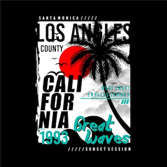 Los angeles califórnia verão grandes ondas tipografia camisetas gráficos vetores