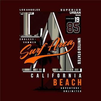 Los angeles surf area tipografia gráfica vetor praia tema ilustração t camiseta