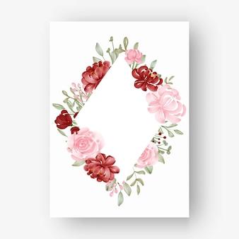 Losango com moldura floral com aquarela flores vermelhas e rosa