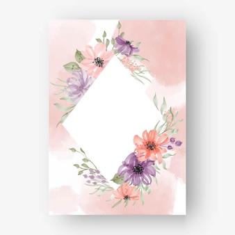 Losango com moldura floral e flores em aquarela