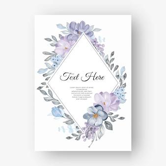 Losango com moldura floral e flores lilás