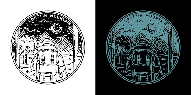 Lost in mountain monoline badge design