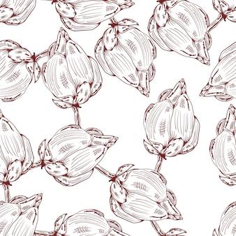 Loto mão desenhada esboço floral vintage de fundo