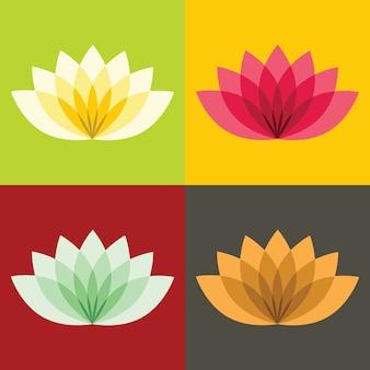 Lotos lisos flores sobre fundo de cor