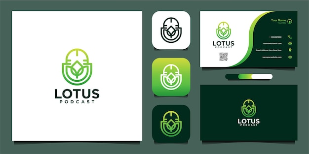 Lotus com design de logotipo de podcast e cartão de visita