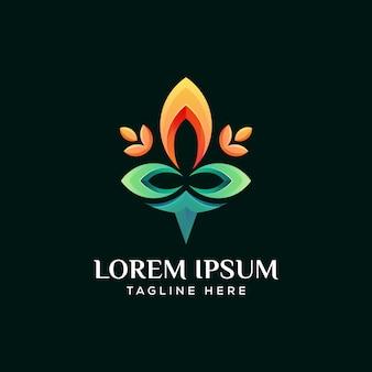 Lótus moderno, vetor de premim de logotipo de flor