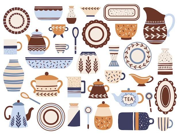 Louça de cozinha. panelas de cerâmica, copos de porcelana e jarra de vidro. utensílios de cozinha isolado conjunto de itens planos