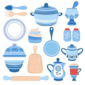 Louças de cerâmica. tigelas de porcelana azul, pratos e pratos.