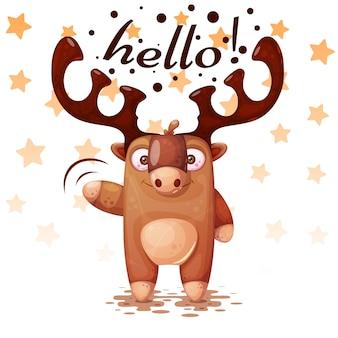 Louco, engraçado, bonito personagens de cervos de papel