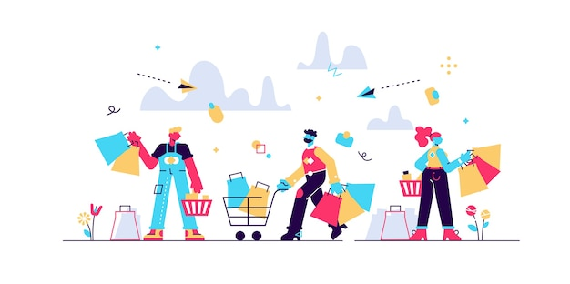 Loucura de compras multidão ilustração do conceito de pessoas planas minúsculas. a black friday ou venda melhor oferece vendas crescentes e crescimento dos negócios. clientes satisfeitos com sacos, caixas e novos produtos no carrinho.