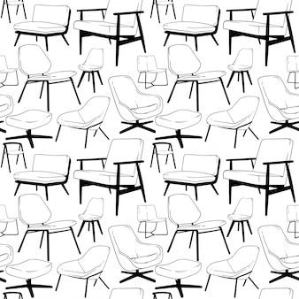 Lounge chair seamless pattern