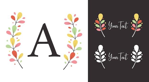 Louro colorido da coroa de flores de outono de tiauna de elementos de folha para logotipo do monograma ou design de ilustração