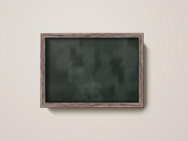 Lousa em branco com moldura de madeira isolada na parede em ilustração 3d