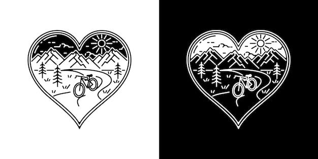 Love bicycle monoline badge design