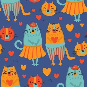 Love cat desenhos animados desenhados à mão animal fofo padrão sem emenda