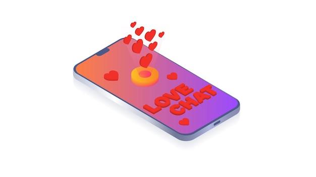 Love chat namoro online ou relacionamentos virtuais em redes sociais love messageconcept for website