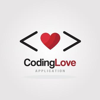 Love coding logo design template para software company, development, application, mobile.