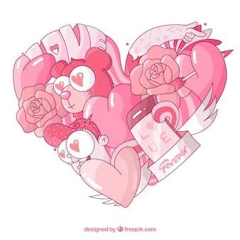 Love comoposition com estilo desenhado mão