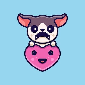 Love dog para personagem ícone etiqueta do logotipo e ilustração