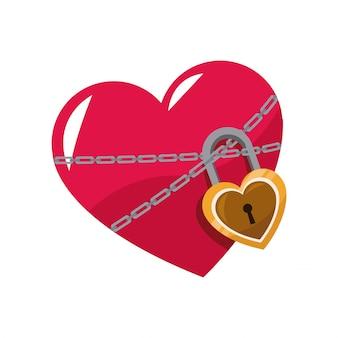 Love glossy coração rosa cadeia de bloqueio