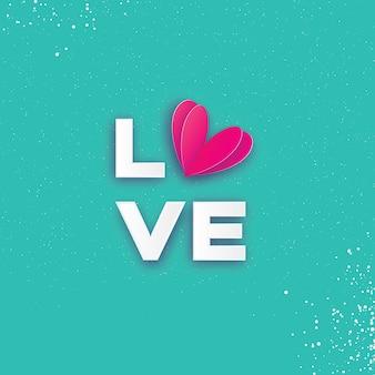 Love letras tipográficas com coração de corte de papel rosa