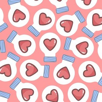 Love lightbulb pattern background ilustração em vetor