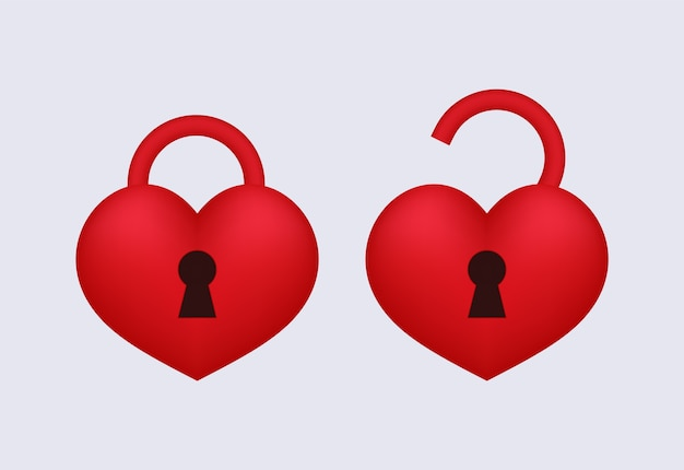 Love lock aberto e bloqueado. Vetor Premium