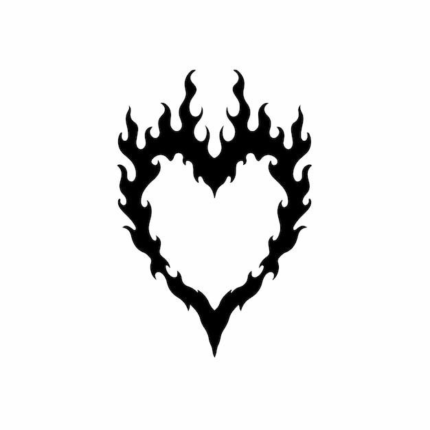Love on fire símbolo logo tatuagem design stencil ilustração em vetor