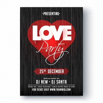 Love party banner ou flyer.