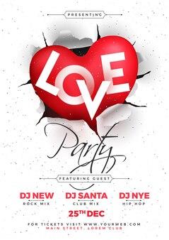 Love party, poster, banner ou flyer design, feliz dia dos namorados.