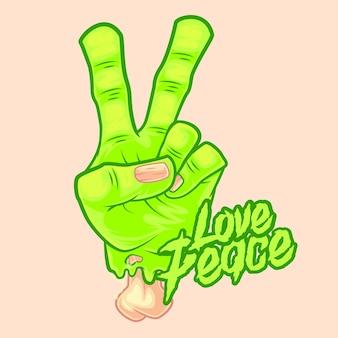 Love peace zombie hand vector premium