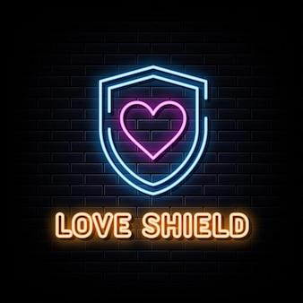 Love shield sinais de néon modelo de design de vetor estilo néon