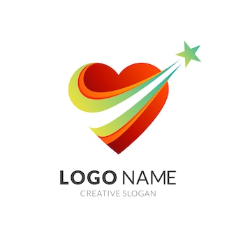 Love star logo design, love and dream