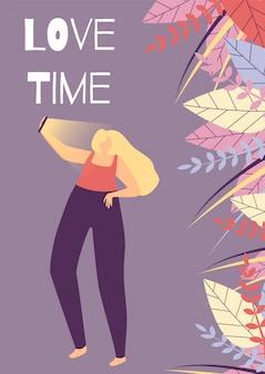 Love time flat cartoon bandeira motivacional de mulher