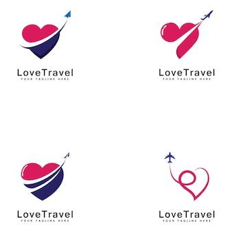 Love travel logo template design vector emblem design concept ícone de símbolo criativo